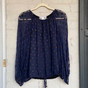Diane von Furstenberg navy silk peasant blouse